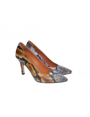 Ruby With Purple Snake Pattern Heels On Genuine Leather